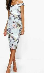 Floral Bardot Off Shoulder Midi Dress US Size 4